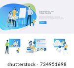 flat design banner and elements ... | Shutterstock .eps vector #734951698