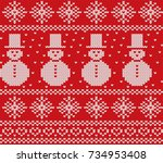 knit christmas design with... | Shutterstock .eps vector #734953408