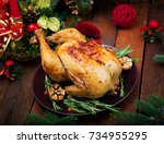baked turkey or chicken. the... | Shutterstock . vector #734955295