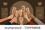 new year s celebration. hand... | Shutterstock .eps vector #734958808