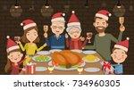 christmas dinner. family... | Shutterstock .eps vector #734960305