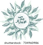 tea house. menu label with tea... | Shutterstock .eps vector #734960986