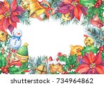 frame with a christmas tree ...   Shutterstock . vector #734964862