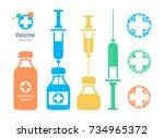 vaccine vial and syringe ... | Shutterstock .eps vector #734965372