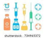 vaccine vial and syringe ... | Shutterstock .eps vector #734965372