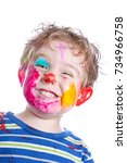 smiling small boy with painted... | Shutterstock . vector #734966758