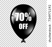 black ballon with text 70... | Shutterstock .eps vector #734971192