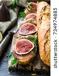 sandwich with figs and... | Shutterstock . vector #734974885