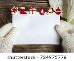 christmas banner. letter to... | Shutterstock . vector #734975776