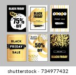 black friday sale cards. black... | Shutterstock .eps vector #734977432