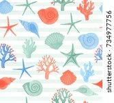 watercolor seamless pattern... | Shutterstock . vector #734977756