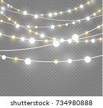 christmas lights isolated on... | Shutterstock .eps vector #734980888