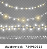 christmas lights isolated on... | Shutterstock .eps vector #734980918