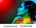 high fashion model woman in... | Shutterstock . vector #734981986