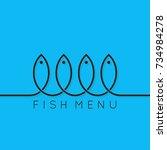 fish menu concept design... | Shutterstock .eps vector #734984278
