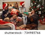 traditional giving gifts at... | Shutterstock . vector #734985766