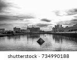 boston fort point channel... | Shutterstock . vector #734990188