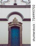 beautiful old door in a... | Shutterstock . vector #734995702