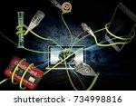 online cyber crime fraud of...   Shutterstock . vector #734998816