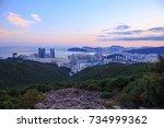 gwangan bridge and marine city... | Shutterstock . vector #734999362