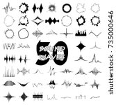 50 sound wave audio icons set.... | Shutterstock .eps vector #735000646