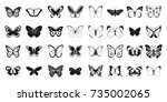 Stock vector butterfly icon set simple set of butterfly vector icons for web design isolated on white background 735002065