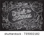 back to school pattern on ... | Shutterstock .eps vector #735002182