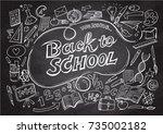 back to school pattern on ... | Shutterstock .eps vector #735002182