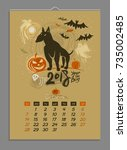 vector calendar for october... | Shutterstock .eps vector #735002485