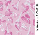 romantic seamless background... | Shutterstock .eps vector #735002998