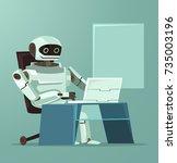 happy smiling robot office... | Shutterstock .eps vector #735003196