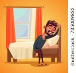 unhappy man character waking up ... | Shutterstock .eps vector #735009832