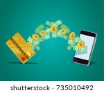 mobile payment concept. vector... | Shutterstock .eps vector #735010492
