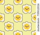 fried egg faces seamless... | Shutterstock .eps vector #735012016
