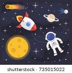 space astronaut rocket... | Shutterstock .eps vector #735015022