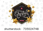 merry christmas with... | Shutterstock .eps vector #735024748