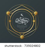 merry christmas with... | Shutterstock .eps vector #735024802
