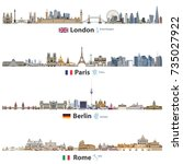 vector skylines of london ... | Shutterstock .eps vector #735027922