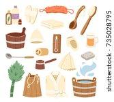 bath house sauna hot water spa... | Shutterstock .eps vector #735028795