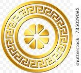traditional vintage golden... | Shutterstock .eps vector #735029062