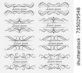 set of decorative calligraphic... | Shutterstock .eps vector #735029548