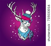 a beautiful deer in a winter... | Shutterstock .eps vector #735033016