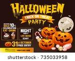 halloween party  pumpkins ... | Shutterstock .eps vector #735033958