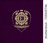 monogram creative sign template ... | Shutterstock .eps vector #735035746