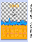 calendar grid for 2018 year.... | Shutterstock .eps vector #735036106
