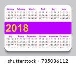 2018 pocket calendar. template... | Shutterstock .eps vector #735036112