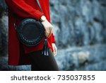 fashionable woman posing in... | Shutterstock . vector #735037855