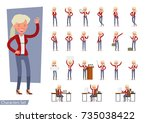 set of businesswoman character... | Shutterstock .eps vector #735038422