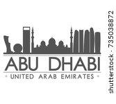 abu dhabi skyline silhouette...   Shutterstock .eps vector #735038872