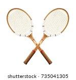 tennis rackets isolated on...   Shutterstock . vector #735041305